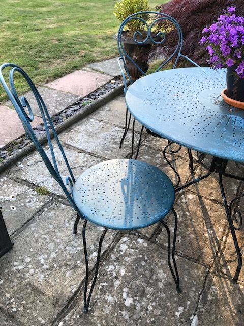 SOLD - Vintage French Garden Set - Table and Four Chairs